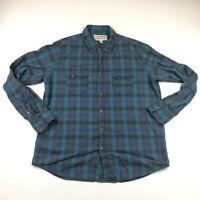 Ryan Michael Mens Long Sleeve Blue Button Up Flannel Western Plaid Shirt XL
