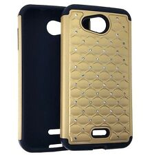 For Kyocera Hydro Wave / Air - HARD & SOFT RUBBER HYBRID CASE GOLD DIAMOND BLING