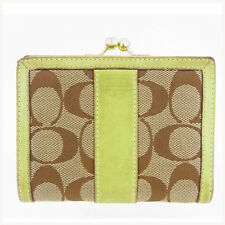 Coach Wallet Purse Coin purse Signature Brown Green Woman Authentic Used B406