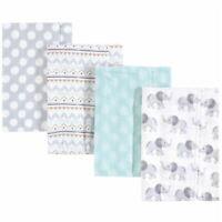 Hudson Baby Flannel Burp Cloth 4-Pack, Gray Elephant