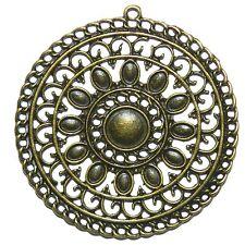 MX915 Antiqued Bronze 55mm Intricate Flat Round Flower Pendant Focal 20pc