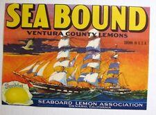 1937 Sea Bound Clipper Sail Ship Lemon Crate Label