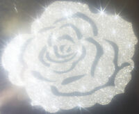 Rose couleur argent silver Patch termocollant à customiser hotfix Glitter 7 cm