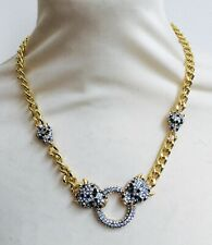 Butler and Wilson Clear Crystal Leopard Head Ring GOLD Tone Necklace NEW