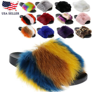 New Women's Color Fluff Furry Ultra Soft Faux Fur Slide Slipper Open Toe Slip On