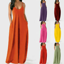 Women Summer Boho V Neck Long Dress Casual Evening Pocket Loose Party Maxi Dress