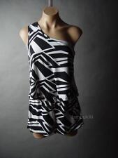 Sale Black White Graphic Stripe One Shoulder Jumper Shorts 13 mv Romper S M L