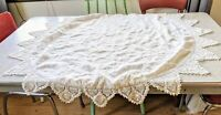 """Vintage Round Linen Table Topper 43"""" With Crochet Lace Border"""