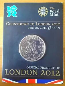 2011 COUNTDOWN TO LONDON 2012 OLYMPICS £5 COIN IN ROYAL MINT PRESENTATION CARD