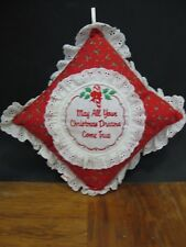 """Christmas Embroidered Decorative Pillow """"May All Your Christmas Dreams Come True"""