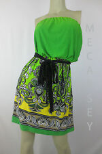Baileyblue Casual Neon Green Black Bow Tie Strapless Dress Size M