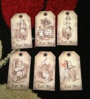 6 Alice in wonderland Eat Me tags  vintage Birthday tea party Decorations