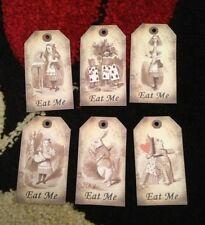 6 Alice in wonderland Eat Me tags  vintage Birthday tea party Decorations