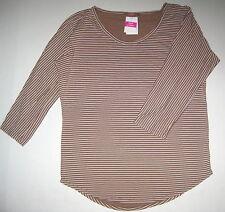 FRESH PRODUCE Medium Desert Brown Pinstripe Sweet Scoop Shirt Top $59 NWT New M