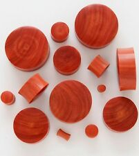 1 Pair 0G 8mm Red Saba Organic Natural Exotic Wood Saddle Plugs Ear Gauges 266