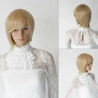 Lady Blonde Straight Hair Short Wigs Women Fashion Costume Cosplay Party Wig MT