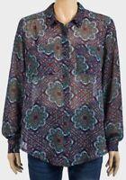 Ladies Vintage Style Semi Sheer Paisley Long Sleeve Shirt Blouse XS-L NEW