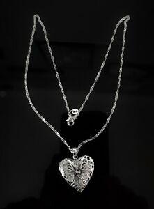 "925 SILVER PLATED HEART LOCKET NECKLACE,18"" CHAIN WEDDING VALENTINE GIFT"