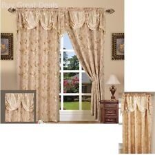 Curtain Panel 55x 84in With Attached Valance 18in Set of 2 Beige New