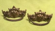 Antique ~ Drawer Pull ~ Brass ~ Lion ~ Square ~ Handle ~ Set Of 2