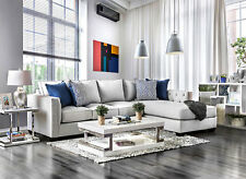 NEW Modern Living Room Sectional Furniture Gray Fabric Sofa Couch Chaise Set CA6