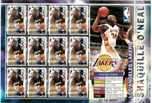 Gambia 2005 - NBA Shaquille O'Neal - Los Angeles Lakers - Sheet of Twelve - MNH