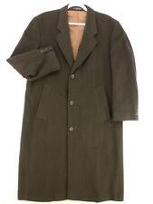 CHERESKIN Vtg 90s Brown Cashmere Blend Trench Coat Long Jacket Men's 40 M
