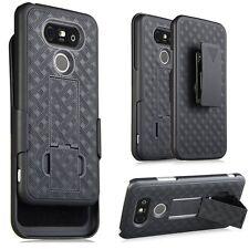 LG G5 Phone Case Black Shell Hard Case Cover + Belt Clip Holster Kickstand