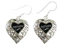 Memaw Silver Filigree Heart Wire Hook Earrings Jewelry Family Gift Grandmother