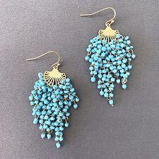 Gold Finish Turquoise Beaded Tassel Design Bohemian Style Drop Dangle Earrings