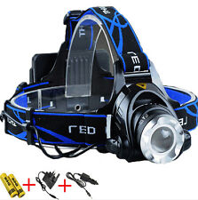 LED Zoom Headlight Torch T6 Headlamp Head Light Lamp + Charger + 18650 UK011A