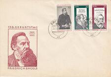 DDR  FDC Ersttagsbrief 1970 Friedrich Engels Mi.Nr.1622-24 Stempel Erfurt