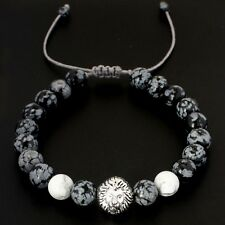 Mens Obsidian & White Howlite Lion Head Beaded Yoga Mala Beads Macrame Bracelet