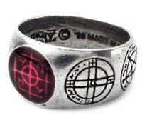 Agla Pewter Ring Kabbalistic Sigillum Magical Talisman Seals Alchemy Gothic R71