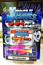Muscle Machines '69 Camaro Pink w/Flames Diecast 1:64 Scale 01-79 NEW!