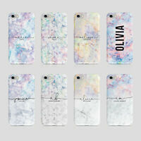 Personalised Name iPhone Samsung Hard Phone Case Iridescent Marble Holographic