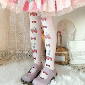 Japanese Lolita Girls Strawberry Stockings Pantyhose Bow Cosplay Sweet Tights