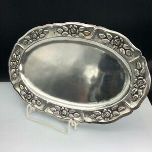 Art Deco kleines Tablett 925 Sterlingsilber Silber Mexico 296,1g 29,1cm #4726