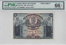 Spain, 1907 50 Pesetas P63s PMG 66 EPQ   ((single finest, 3 known))
