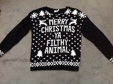 Ladies Black & White Jumper 'Merry Christmas Ya Filthy Animal' Size M-L 14-16