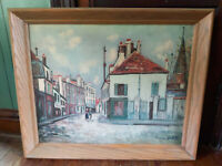 HUGE Large Maurice Utrillo 1938 Litho Print of Painting Wood Frame VTG 34x28
