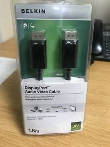 Belkin DisplayPort Audio Video 1.2 Cable with Latches, M/M, 4k, 1.8M