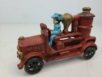 Vintage Antique Cast Iron Fire Engine Red Pumper Car Toy With Figurine