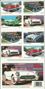 1950's Sporty Cars Collectible Booklet of Twenty 37 Cent Stamps Scott 3935b