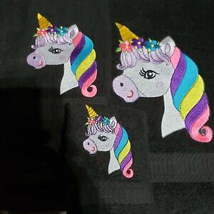 Handmade Personalized Embroidered 3 Piece Bath Set -Unicorn