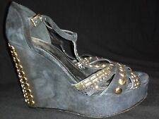 WOMEN VINCE CAMUTO PLATFORM WEDGE BLACK SUEDE GOLD DETAIL EU 37 US SIZE 7 B