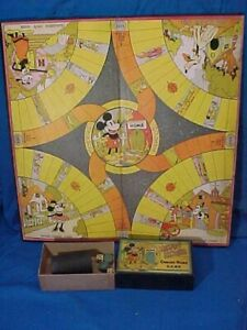 1930s MICKEY MOUSE COMING HOME Original GAME BOARD + Parts MARKS Bros