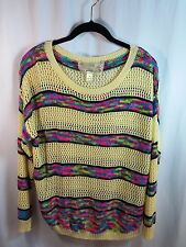Nick & Mo Color Me Bad Open Weave Variegated Stripes Sweater Medium NEW Ret. $75
