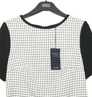 Ladies Blouse Shell Top M&S Black Check Front Scuba Stretch 8 BNWT Marks Women
