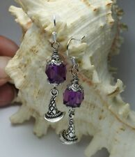 Sterling Earrings ~ 3-D Witch Sorting Hat Purple Faux Crystal Cubes